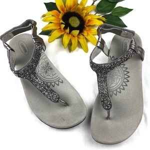 Aetrex Jade Silver Sparkle Thong Comfort Sandals